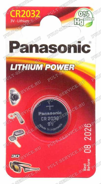 Батарейка Panasonic CR2032 (3V) блист-1